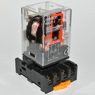 (1PCs) NEW 10A Omron MK2P-I Cube Relays 220~240V AC Coil with PF083A Socket Base