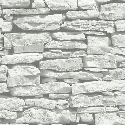 Moroccan Wall White Slate Stone Wallpaper - Arthouse 623009 - Brick Effect