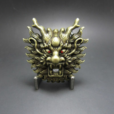Bronze Plated Asian Chinese Dragon Head Pearl Metal Belt Buckle