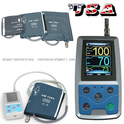 CONTEC FDA Ambulatory Blood Pressure Monitor+USB Software 24h NIBP Holter,3 cuff