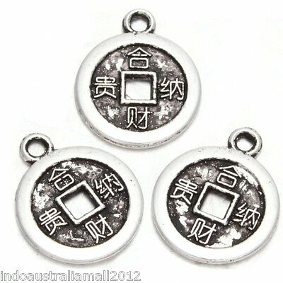 50 Pcs Chinese  Alloy Metal Antique Silver Fortune Charm Coin Pendants(148000)