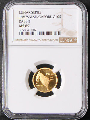 Singapore 1987 10 Singold 1/10oz Luna Year of Rabbit Gold Coin NGC 69