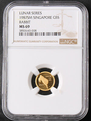 Singapore 1987 5 Singold 1/20oz Luna Year of Rabbit Gold Coin NGC 69