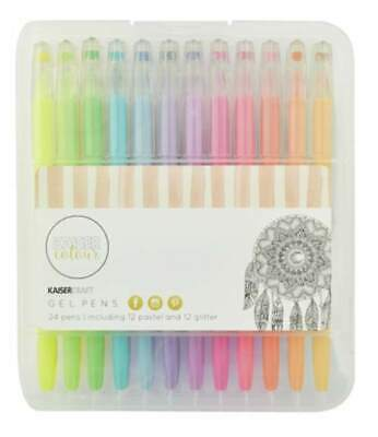 KaiserCraft Gel Pens 24 Pen Set 12 Glitter 12 Pastel