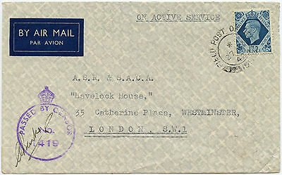 PALESTINE WW2 1942 CENSORED AIRMAIL 10d GB KG6 FRANKING FINE USED FPO154