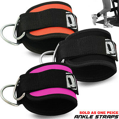 Weight Lifting Gym D Ankle Cuff Pulley Neoprene Straps Cable Attachment Single