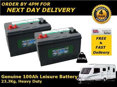 Deal Pair 12v Hankook 100ah Ultra Deep Cycle Leisure Battery - Ready To Use