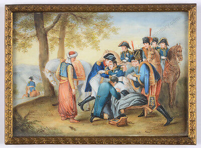 """Napoleon bidding farewell to Marshal Lannes"", French miniature, 19th c"