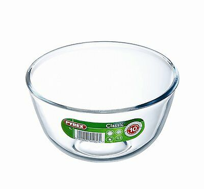 Pyrex Glass Bowl 1.0L Borosilicate Classic Easy Prepare Cook Bake Microwave Safe