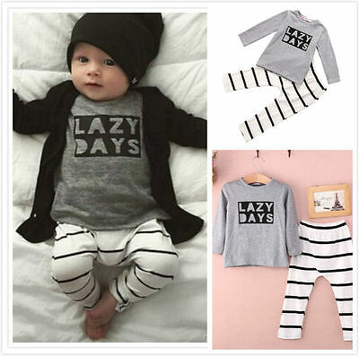 Newborn Unisex Toddler Baby Shirt & Pants Jumpsuit Outfits Playsuit Clothing Set