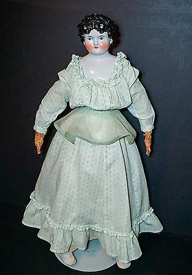 """CLEARANCE SALE Antique German China Head Doll 25"""" Tall Dolly Madison Hairdo 1870"""