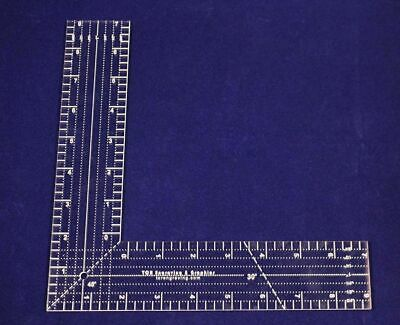 """9""""  L-Shaped Ruler.  Acrylic 1/8"""" thick. Quilting/Sewing/Template"""