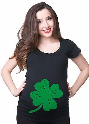 Pregnancy T-shirt  Maternity Top Shamrock Clover Leaf  St Patricks Day Tee Shirt
