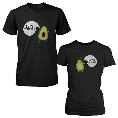 Let's Avocuddle Cute Couple Shirts Matching Avocado Black T-shirt Set Funny Tee