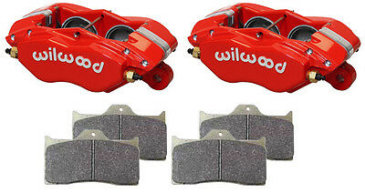 """Wilwood Forged Dynalite-M Brake Calipers & Pads,red,1"""" Discs,1.75 Pistons,racing"""