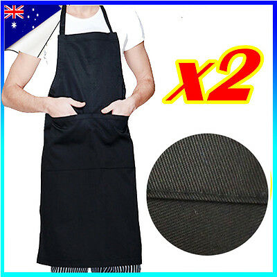 2x Apron Washable Cotton Pocket Butcher Waiter Chef Kitchen Cooking Unisex Black