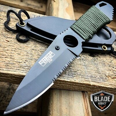 "7"" TACTICAL MILITARY FIXED BLADE NECK KNIFE w/ SHEATH BOOT CAMPING OUTDOOR EDC"