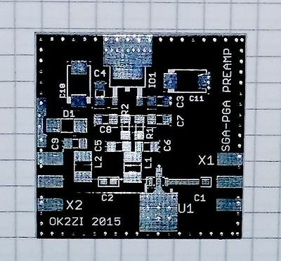 PCB for PGA-103+  Ultra Low Noise Figure preamplifier 50 MHZ - 4 GHZ
