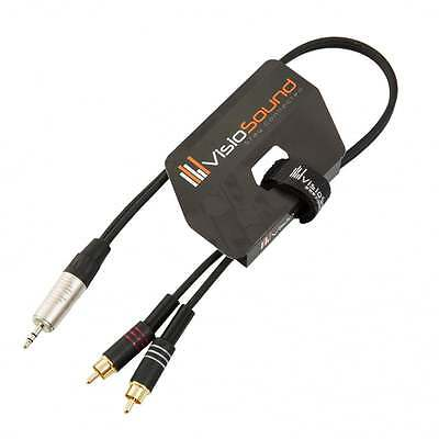 3.5mm Stereo TRS Mini Jack to Twin 2 x RCA Gold Phono Lead / Aux MP3 Cable