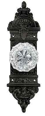Rousso's Reproduction French Door Exquisite Backplate & Real Glass Crystal Knob