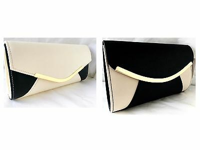 New Cream Nude & Black 2 Tone Faux Leather Evening Day Clutch Bag Wedding Party