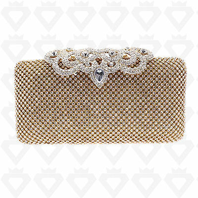 Ladies Crystal Diamante Silver Gold Evening Bag Clutch Purse Party Prom Wedding