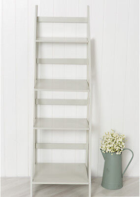 Ladder Book Shelf 4 Tier Bookcase Stand Free Standing Shelves Storage Unit Grey