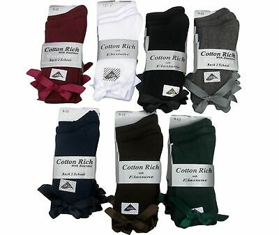 3 PAIRS GIRLS 12.5-3.5  75% COTTON SCHOOL / DRESS BOW ANKLE SOCKS 7 colours