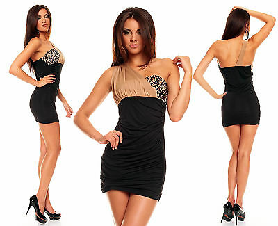 Sexy Beaded Bodycon Dress Evening One Shoulder Party Mini Dress size 8-12