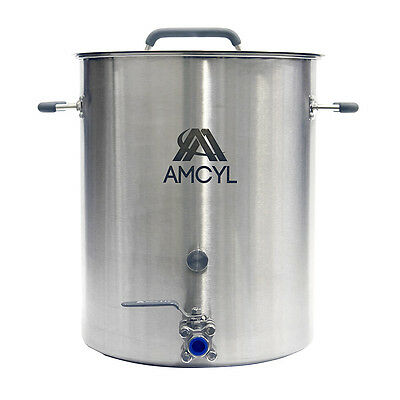 10 Gallon Stainless Steel Kettle with Lid, Valve & Accessory Port - Ships Free