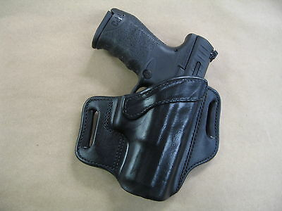 Walther PPQ M2 45 OWB Leather 2 Slot Molded Pancake Belt Holster CCW BLACK RH