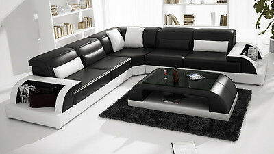 Modern Large LEATHER SOFA Corner Suite NEW RRP £5999 Black Modular