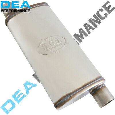 "2.5"" STAINLESS STEEL STRAIGHT THROUGH MUFFLER 9"" x 4"" OVAL 18"" LONG DUAL OFFSET"