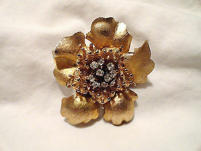 Gold Tone Rhinestone Flower Vintage Brooch Signed HAR or Vintage Jewelry