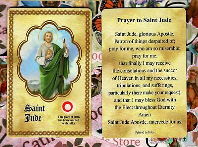 Saint St. Jude with Don't Quit Prayer  - Relic Paperstock Holy Card