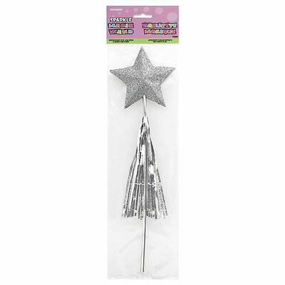 Sparkle Magic Wand Glittering Star Silver Tassels Birthday Fairy Tale Party Use