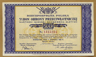 Polish Wwii War Bond From 1939 - Cash For The Army - Great Item! 1939 Dated!