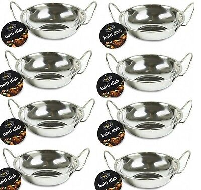 8 x ROUND STAINLESS STEEL DISH WITH HANDLES 15CM FOR INDIAN FOOD, BALTI KARAHI
