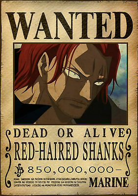 Poster A4 Plastifie-Laminated(1 Free/1 Gratuit)*manga One Piece Wanted Shanks.