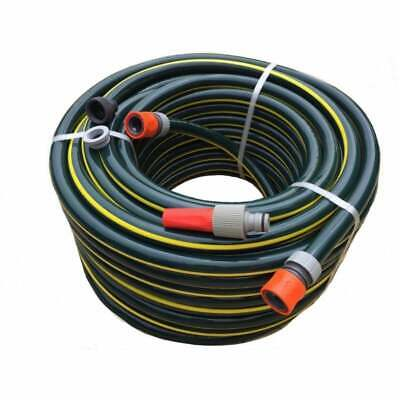 """30M Rubber Garden Hose 19MM I.D. Double Walls 9.5/10 Kink Free 3/4"""" Fittings"""