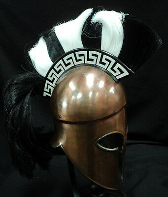 Greek Corinthian Bronze Helmet / Black & White Plume