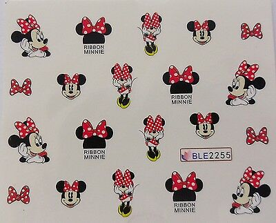 Nail Art Glitzy Red White Minnie Spotty Bows Girl Nail Water Decal Sticker 2255