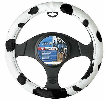 Car Steering Wheel Cover Glove Black And White Cow Print Animal Detail Design