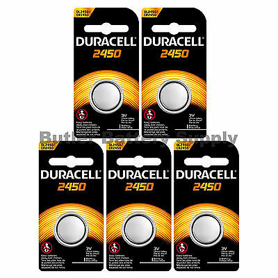 5 x 2450 Duracell Lithium 3V Coin Cell Batteries (CR2450, DL2450, ECR2450)