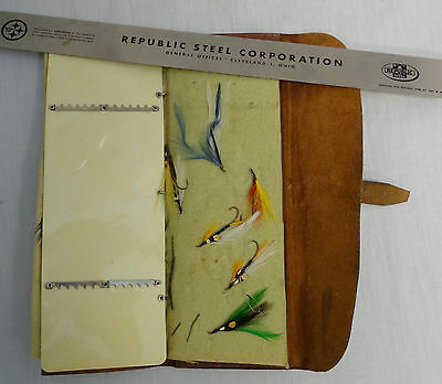 Vintage Genuine Leather Bray Book Fly Fishing Leader Leather With 10 Lures/flies
