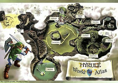 Poster A4 Plastifie-Laminated(1 Free/1 Gratuit*video Game Legend Map Hyrule Cart