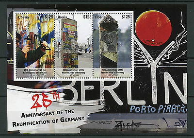 Liberia 2015 MNH Reunification of Germany 25th Anniv 3v M/S Berlin Wall Graffiti