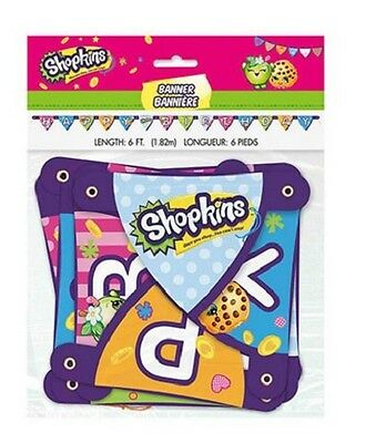Shopkins 'Happy Birthday' Party Jointed Banner - 6ft Long