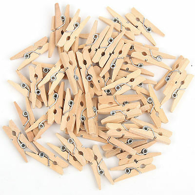 100 Mini Natural Wooden Craft Pegs Clothes Paper Photo Hanging Spring Clips 25mm