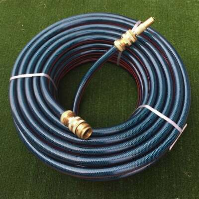 "Garden Water Watering 50M Hose 18MM / 3/4"" Brass Fittings Nozzle 8/10 Kink Free"